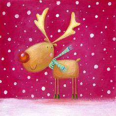 Christmas Reindeer by Ileana Oakley Christmas Scenes, Noel Christmas, Christmas Animals, Christmas Pictures, All Things Christmas, Vintage Christmas, Christmas Crafts, Christmas Decorations, Christmas Ornaments