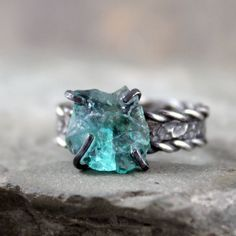 Apatite Ring - Raw Uncut Rough Apatite - Sterling Silver Stacking Ring - Rough Gemstone Ring - Blue Stone Ring - Rustic Jewelry. $225.00, via Etsy.