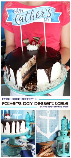 FREE Father's Day Cake Topper + Dessert Table Idea FREE father's day cake topper + dessert table idea Laura – Eye Candy Creative Studio Happy Fathers Day Cake, Fathers Day Crafts, Creative Studio, Sweet Desserts, Dessert Recipes, Eye Candy, Dessert Table, Holiday Recipes, Cake Toppers