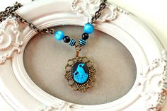 Peacock Cameo Necklace in black and blue  sweet by DinaFragola