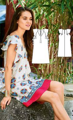 Flounce Dress Burda Feb 2017 http://www.burdastyle.com/pattern_store/patterns/flounce-dress-022017  https://www.burdastyle.de/burda-style/step-by-step/volantkleid_pid_1715_15828.html