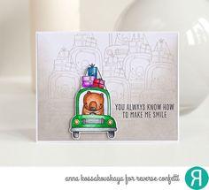 Rush Hour card for Reverse Confetti @akossakovskaya #cardmaking #reverseconfetti