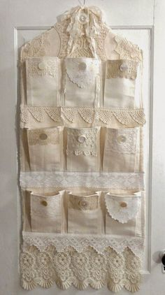 Sweet shabby chic idea for hanging organizer - need to make one like this for my craft tools! :)