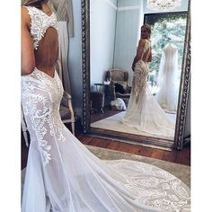 Stunning Bateau Sleeveless Court Train Mermaid Wedding Dress with Appliques Open Back Cheap Wedding Dresses Online, 2015 Wedding Dresses, Wedding Dress Styles, Wedding Gowns, Simple Dresses, Beautiful Dresses, Nice Dresses, Over The Top, Couture Dresses