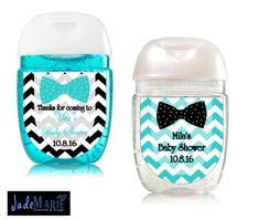 Bowtie Hand Sanitizer labels Baby Shower favors  by JadeMarieMnD