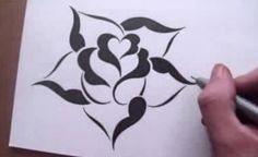 Drawing a Rose in a Simple Stencil Design Style - YouTube
