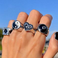Black And White Rings, Charm Jewelry, Cufflinks, Punk, Gifts, Accessories, Presents, Favors, Wedding Cufflinks