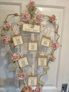 Love heart wedding table plan rustic vintage shabby chic flowers