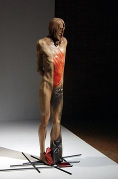 jerzy fober, rzeźba dokończona, 2004, drewno polichromowane