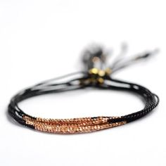 Tiny Rose gold and silk bracelet | Vivien Frank Designs