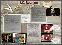 """Joanne """"Jo"""" Rowling, pen names J. K. Rowling and Robert Galbraith, is a British novelist, screenwriter and film producer best known as the author of the Harry Potter fantasy series. #glogster #glogpedia #jkrowling"""