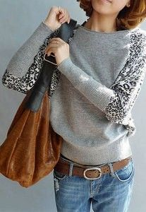Leisure Off Shoulder Leopard Print Pullover Knit Sweater