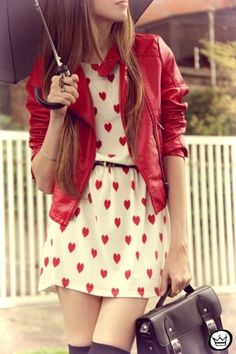 red leather jacket and dress with little hearts for a romantic cute look