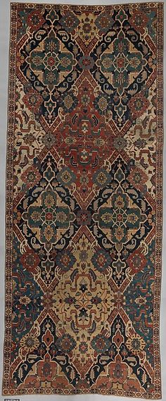 Object Name: Carpet Date: 18th century Geography: Northwestern Iran, probably Culture: Islamic Medium: Cotton (warp and weft), wool (pile); symmetrically knotted pile