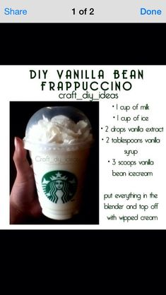 Homemade Starbucks Vanilla Bean Frappachino #Food #Drink #Trusper #Tip