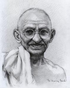 Mohandas Karamchand Gandhi by thedrawinghands on DeviantArt Portrait Sketches, Pencil Portrait, Art Sketches, Pencil Shading, Pencil Drawings, Art Drawings, 3d Art Drawing, Basic Drawing, Drawing Ideas
