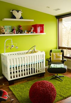 Vibrant, modern nursery with Babyletto Modo 3-in-1 Convertible Crib #lime #love