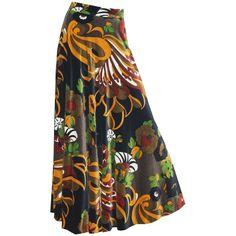 Preowned English Late 1960s Gina Fratini Full Length Velvet Skirt ($2,306) ❤ liked on Polyvore featuring skirts, 1960s, black, patterned skirts, full knee length skirt, full length skirt, print skirt and velvet skirt