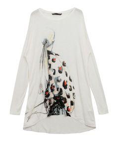 Gouache Girl Print High Low Hem T-shirt