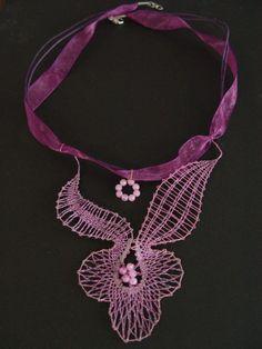 Lace Jewelry, Jewelery, Lace Art, Lace Making, Bobbin Lace, Lace Detail, Crochet Necklace, Creativity, Butterfly
