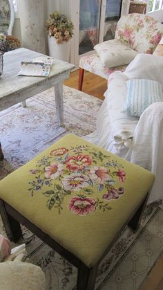 Victorian needlepoint floral stool  shabby by whitecottageinhills, $93.00