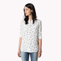 Shop Tommy Hilfiger signature style and enjoy discounted items during our Winter sale. Tommy Hilfiger Shop, Winter Sale, Signature Style, Printed Blouse, Prints, How To Wear, Shopping, Clothes, Collection