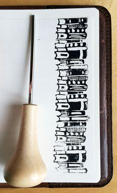 Books - linocut stamp - by Livia Prudilova