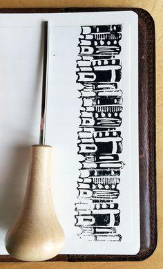 Books - linocut stamp - by Livia Prudilova