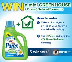 *THIS SWEEPSTAKES HAS ENDED* Enter to WIN a mini greenhouse and Purex Natural Elements detergent in this Instagram #contest -- 5 winners!