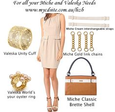 "A truly sophisticated Classic Shell with a little bit of a retro vibe, Brette is a great choice for the classy gal on the go. Ultra smooth golden caramel faux leather is offset by snowy white illusion ""belt"" detail with tiny gold rivet and buckle accents. She's a beautiful way to add a quick dab of sophistication to your outfit. Get the look at www.mycdsite.com.au/lizb"