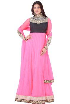 Kediar Anarkali Suit In Pink With Velvet Top #shadesandyou.com