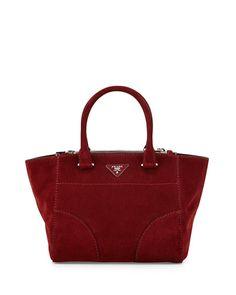 Prada Suede Twin-Pocket Tote Bag
