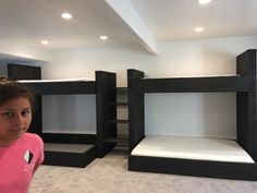 Where can I find someone who makes custom bunk beds? We make custom bunk beds of all sizes, including kings and queens. Bunk Beds For Boys Room, Adult Bunk Beds, Cool Bunk Beds, Bunk Rooms, Kid Beds, Bedrooms, Double Deck Bed Design, Double Deck Bed Space Saving, Sharing Bed