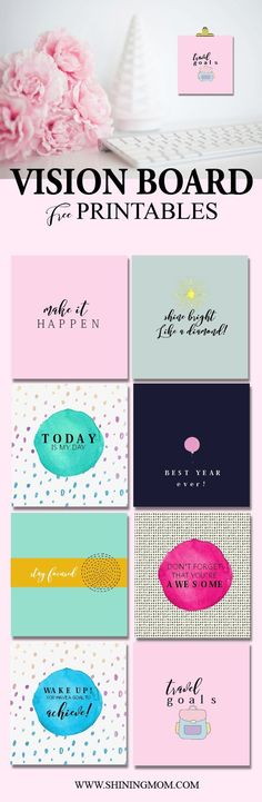 Free Printables for Your Vision Board Looking for a way to motivate yourself this brand new year? I have a little gift for you today that will spark your drive to keep moving forward! Have you ever made a vision board? Planner Free, Planners, Goal Board, Memo Boards, Bulletin Boards, Creating A Vision Board, Freebies, Visualisation, Inspiration Boards