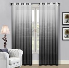 Beverly Hills Window Treatment Collection Fabric Ombre Sheer Grommet Panels A Pair Of 2
