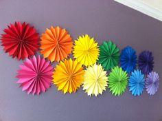 #Rainbow pinwheels decorate this party's walls.  #birthday #rainbowparty