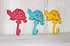 yellow accents for nursery | Whimsy Turtle Wall Hook ,Aqua Blue ,Pink ,Yellow, Nursery Decor ...