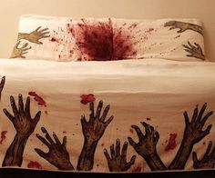 Embrace the inevitable zombie apocalypse with the Zombie Attack Bed Covers. This gory bed set includes a blanket cover and two pillow cases that are screen printed and hand painted with zombie arms, and an ample spread of blood throughout.