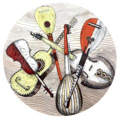 Piero Fornasetti Plate with a Variety of Musical Instruments 1