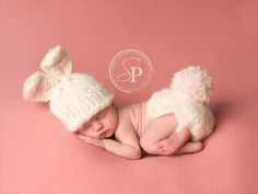 Soft White Baby Bunny Hat and Matching Diaper Cover, Handmade, Knitted, Super Soft, Made to Order, Newborn