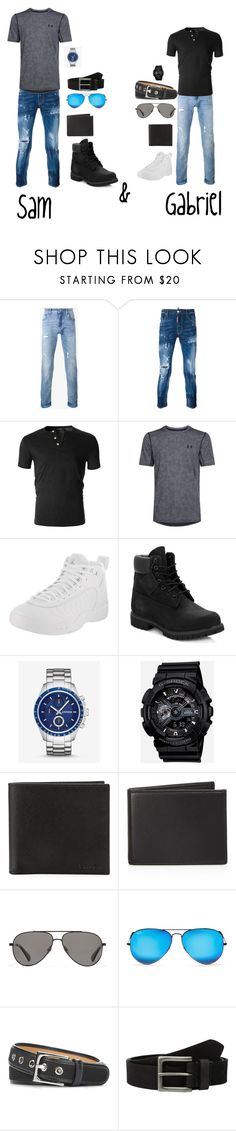 """""""Sam and Gabriel"""" by emilyramme ❤ liked on Polyvore featuring Dolce&Gabbana, Dsquared2, Under Armour, Jordan Brand, Timberland, Express, G-Shock, Prada, The Men's Store and Vilebrequin"""