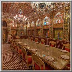 """Emir's"""" dining room in Isfahan Gardens Iranian...Souq Waqif (Old Market). Doha, Qatar"""