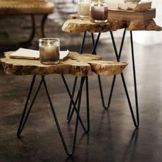 Albion Burl Slice Tables (Set of 2): Thick slices of naturally shaped wood are set on iron hairpin legs to form these intriguing occasional tables, $198.00 #LodgeDecor #CabinDecor