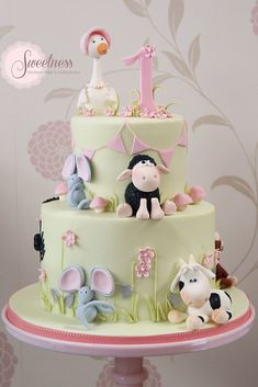 This is the cake I want when I have a baby shower. The theme is nursery rhymes, . This is the cake I want when I have a baby shower. The theme is nursery rhymes, good for boy or girl. Torta Baby Shower, Baby Cakes, Pink Cakes, Farm Birthday Cakes, Farm Cake, Animal Cakes, Cake Images, Cake Pictures, Boy Baby Shower Themes
