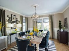This eclectic formal dining room has a hint of costal accents like the stripe cotton rug, blue dining chairs and pale sky blue ceiling.  It's all put together nicely and on a budget.