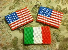 USA and Italy flag boondoggle keychain by Doggie Dew