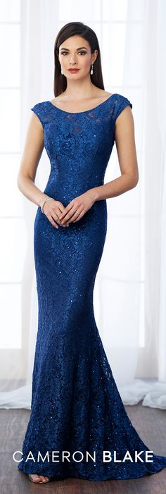 Formal Evening Gowns by Mon Cheri - Fall 2017 - Style No 217644 - royal blue cap sleeve lace evening dress with scattered beading
