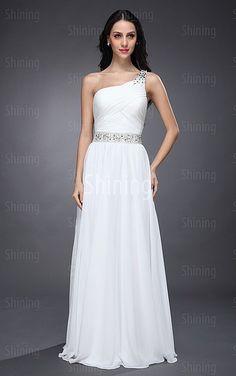 White A-line Floor-length One Shoulder Dress