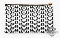 Boston Terrier zipper pouch, sleeve, pocket, clutch, bag, organizer - Black & White Boston Terrier fabric print - bostonlove - Mother's Day!