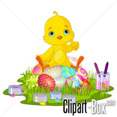 CLIPART EASTER CHICKEN PAINTING EGG